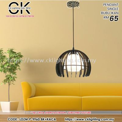 CK LIGHTING PENDANT SINGLE BUBU IKAN (LDZM-P-9960-BK+KACA)