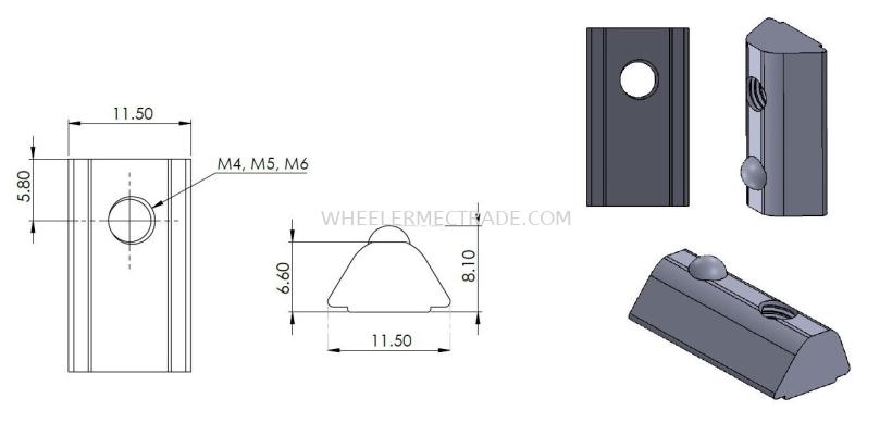 M4, M5, M6 Drop In Nut for 30 mm Alu Profile P6 Series
