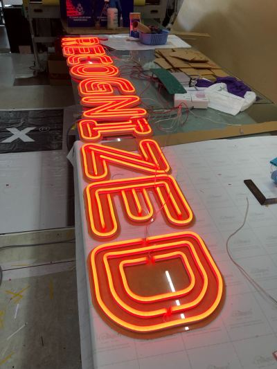 RECOGNIZED (red colour) triple line led neon