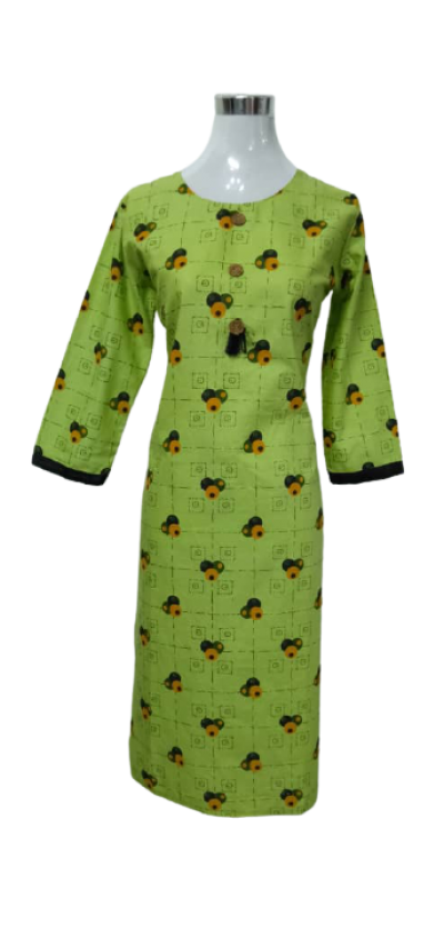 NEW PRINTED SOFT COTTON KURTI WITH LONG SLEEVE.