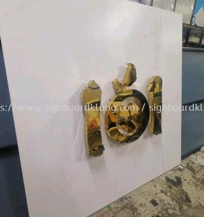 101 bubble tea stainless steel gold mirror 3D box up led backlit indoor signage at subang jaya