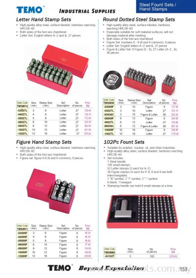 Steel Fount Sets/ Hand Stamps