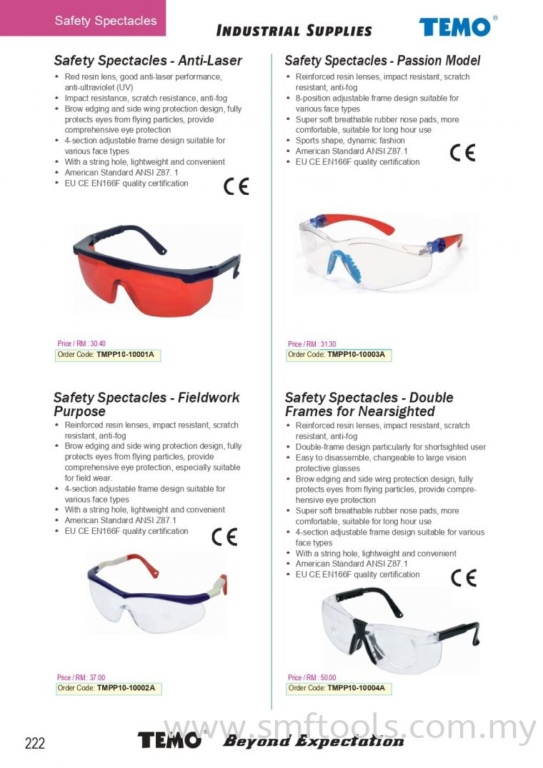 Safety Spectacles Safety Spectacles Others TEMO INDUSTRIAL SUPPLIES