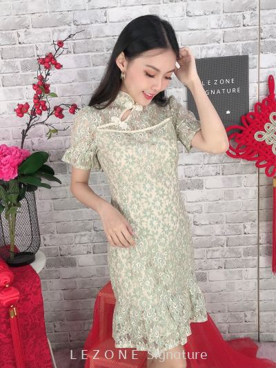 11296 Asymmetrical Hem Laced Cheongsam Dress