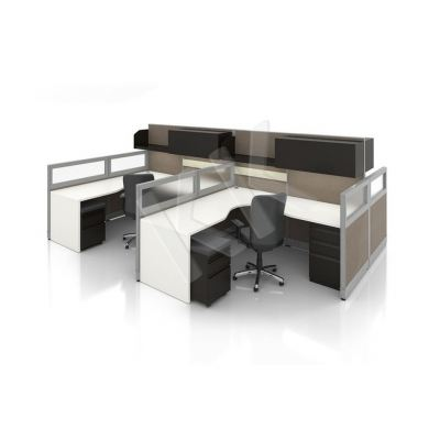 2 Seater Fabric Partition Office Workstation Concept 3