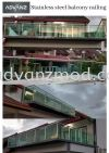 Stainless Steel Balcony Glass Railing With 12mm Tempered Glass Blue & Green Stainless Steel Glass Railing