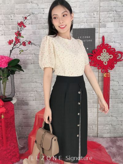 626943 Floral Puff Sleeved Top