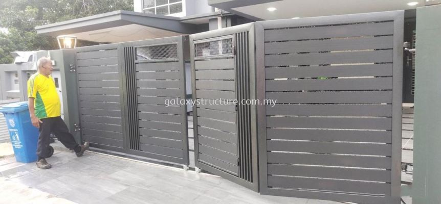 Powder coated gate with aluminium and autogate motor system @ Jalan Setia Impian U13/3N, Sek.U13, Setia Alam 40170 Shah Alam.