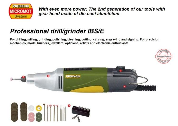PROXXON IBS/E  MINI DRILL/GRINDER SET WITH ACCESSORIES - 100W 5000 TO 20000 RPM MODEL: IB/E-200/E