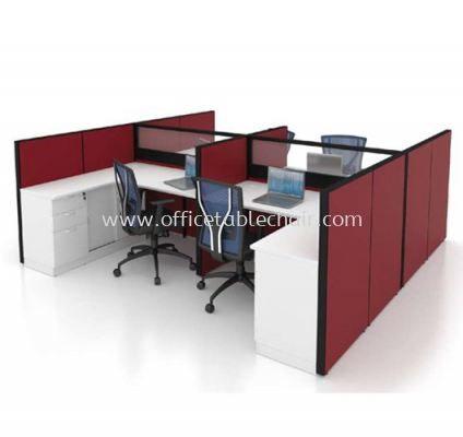 CLUSTER OF 4 WORKSTATION 1 WITH SIDE CABINET