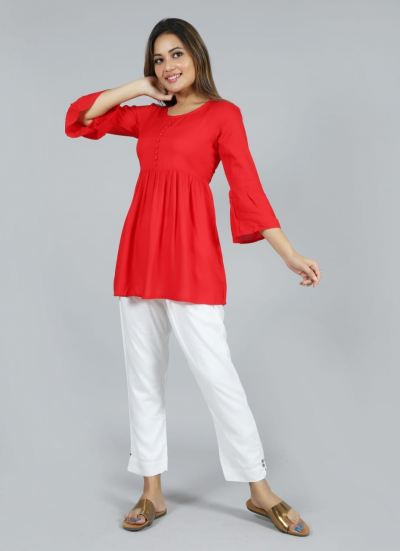 NEW ARRIVAL RAYON PLAIN SHORT TOPS WITH BELL SLEEVE.