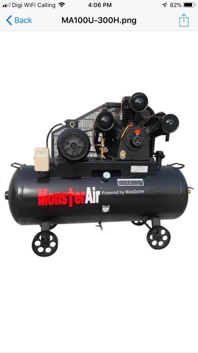 10HP �� MONSTER AIR�� RECIPROCATING PISTON AIR COMPRESSOR, MODEL : MA100U-300H