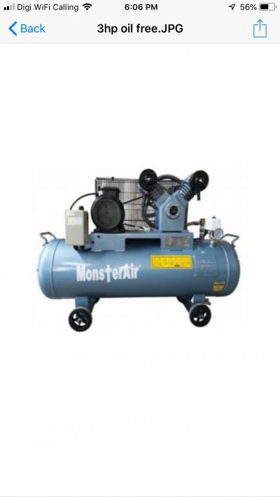 3HP ��OIL FREE MONSTER AIR�� RECIPROCATING PISTON AIR COMPRESSOR, MODEL : VW30-100H