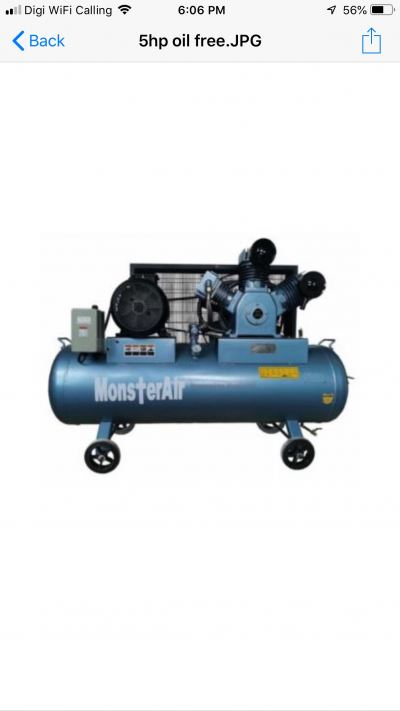 7.5HP ��OIL FREE MONSTER AIR�� RECIPROCATING PISTON AIR COMPRESSOR, MODEL : VW75-250H