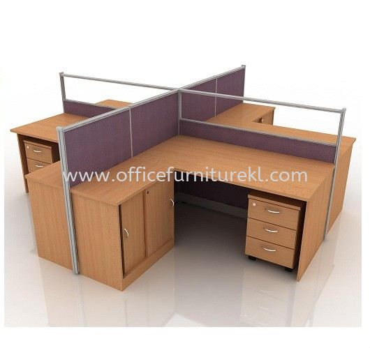 CLUSTER OF 4 WORKSTATION 27 C/W FIXED CABINET & MOBILE PEDESTAL 3D