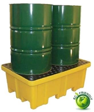 4 Way Access 2 Drum Spill Pallet [4W2D YE D]