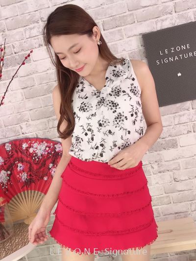 31090 Floral Tie Ribbon Sleeveless Top
