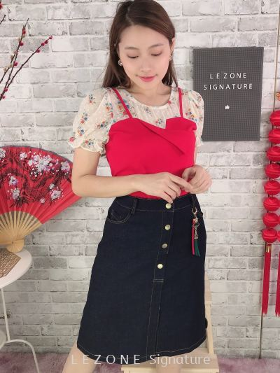 80762 2Pcs - Type Floral Sleeved Top