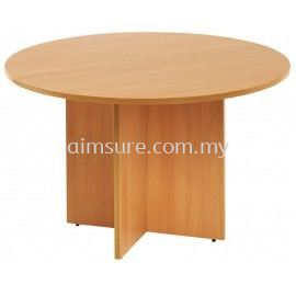 Round discussion table with wooden leg