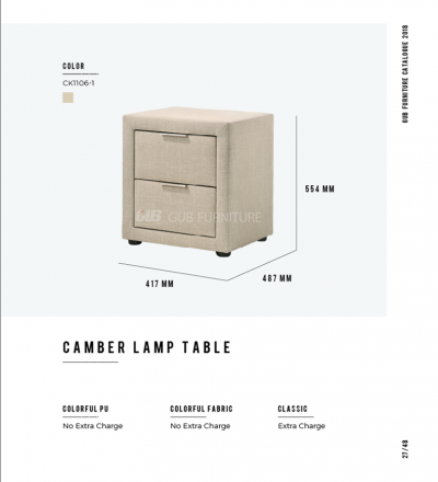 Camber lamp table
