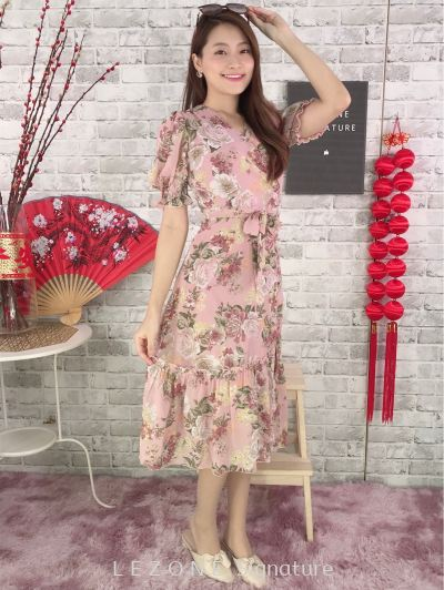 11316 Floral Printed Sleeved Dress
