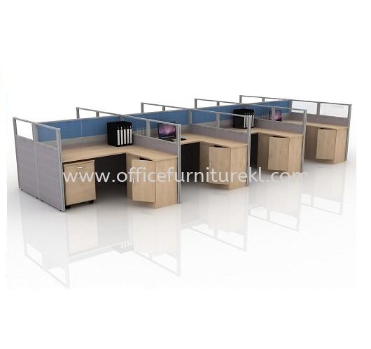 CLUSTER OF 8 WORKSTATION 15 C/W MOBILE PEDESTAL 1D1F & SIDE CABINET
