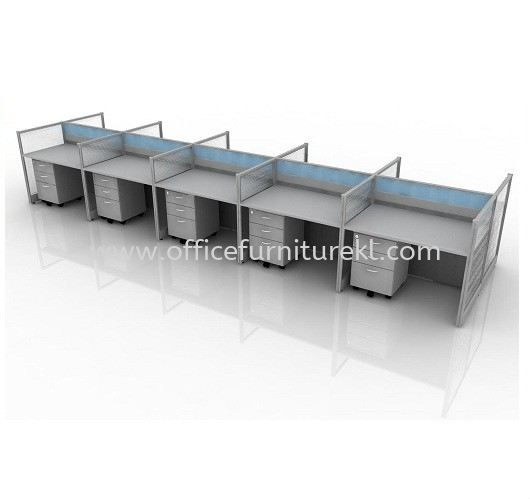 CLUSTER OF 10 WORKSTATION 5 C/W MOBILE PEDESTAL 2D1F