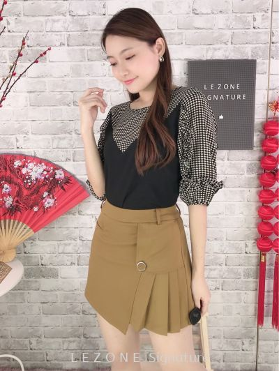 66350 Side Pleated Pocket Skort