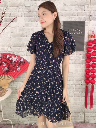 11323 Floral Sleeved Dress
