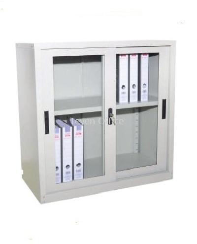Glass Sliding door half height steel cabinet S110