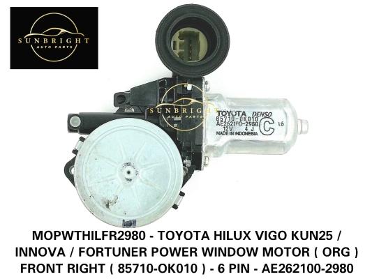 MOPWTHILFR2980 - TOYOTA HILUX VIGO KUN25 / INNOVA / FORTUNER POWER WINDOW MOTOR ( ORG ) FRONT RIGHT ( 85710-OK010 ) - 6 PIN - AE262100-2980