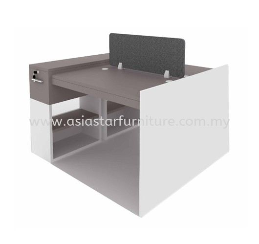 OPEN CONCEPT 2 WORKSTATION 11 C/W WOODEN BASE & FIXED CABINET
