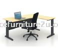 JL1818 J Leg with L Shape Table 1800/750L x 1800/600W x 750H mm (Maple) Executive Table J METAL LEG SERIES  OFFICE DESK TABLE