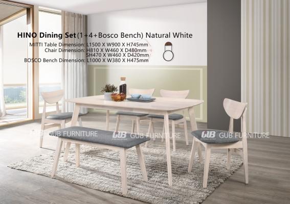 Hino Dining set 1+4+bench