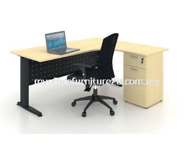 JL2D1F1818 J Leg with L Shape Table and Fixed Pedestal 1800/750L x 1800/600W x 750H mm (Maple)