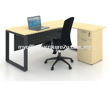 SL2D1F1215  Square Leg with L Shape Table and Fixed Pedestal 1200/600L x 1500/600W x 750H mm (Maple)