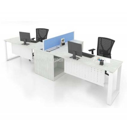 OPEN CONCEPT 2 WORKSTATION 1 WITH METAL O LEG & SIDE CABINET 2
