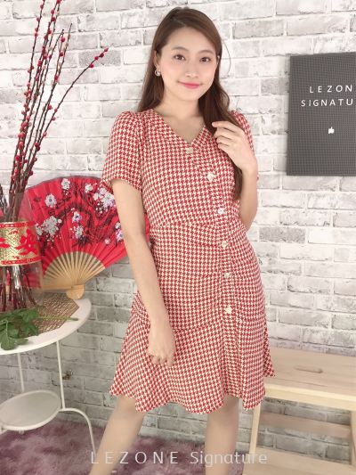 80837 Button Down Sleeved Dress