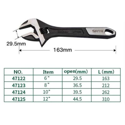 SATA 47125 12�� Wide Jaw Adjustable Wrench ID32608