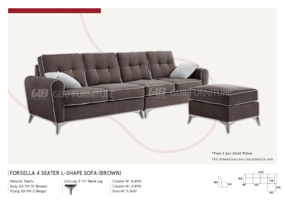 Forsella 4 seater L-shape sofa (Brown)