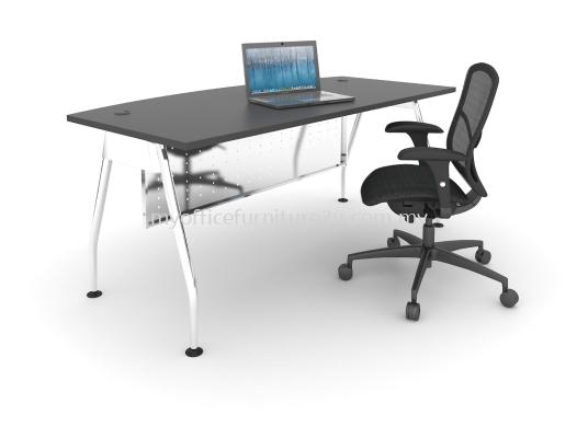 AD1575 A Leg with D Shape Table 1500L x 750/600D x 750H mm (Walnut-Solid Leg)
