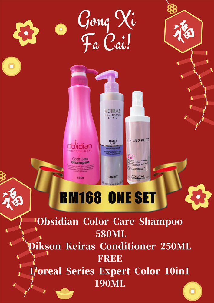 CHINESE NEW YEAR OBSIDIAN PROMOTION  RM168 ONE SET FREE (L'OREAL SERIES EXPERT COLOR 10IN1)