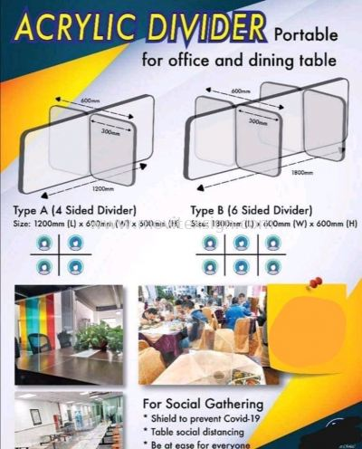 Arcylic divider for office and factory use