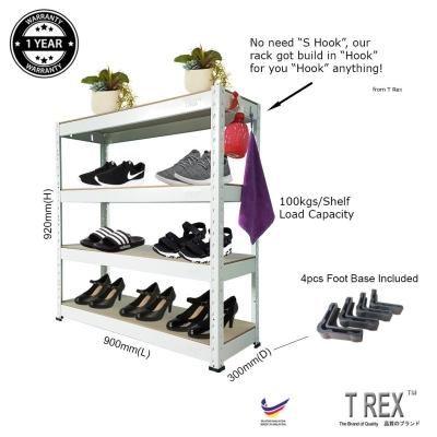 T Rex Multipurpose 4 Tier Boltless Storage Rack (White)