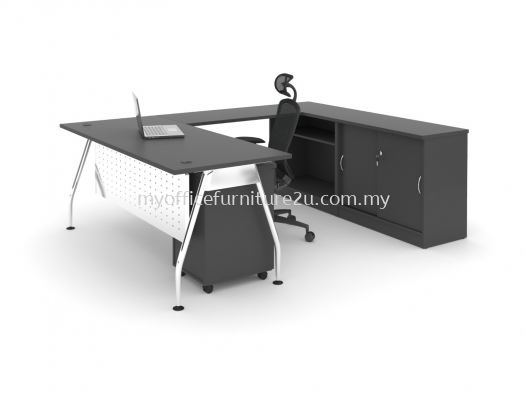 ARSR1575  A Leg with Rectangular Table, Side Cabinet and Mobile Pedestal  1500L x 750D x 750H mm (Walnut-Solid Leg))