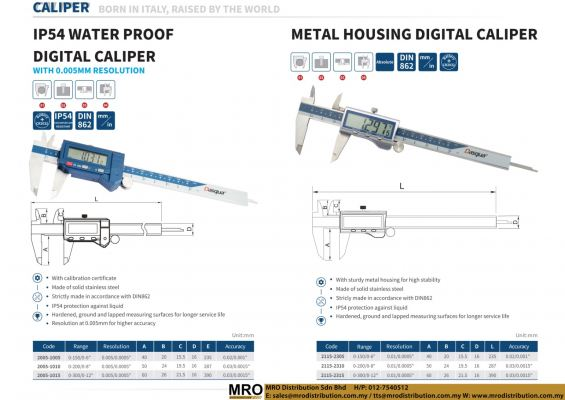 IP54 Water Proof Digital Caliper with 0.005mm Resolution & Metal Housing Digital Caliper