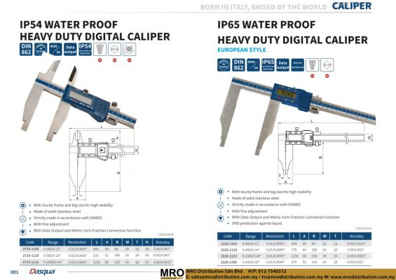 IP54 Water Proof Heavy Duty Digital Caliper & IP65 Water Proof Digital Caliper European Style