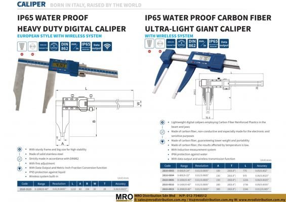 IP65 Water Proof Heavy Duty Digital Caliper European Style with Wireless System
