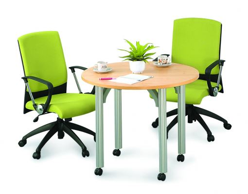Round discussion table with pole leg and wheels
