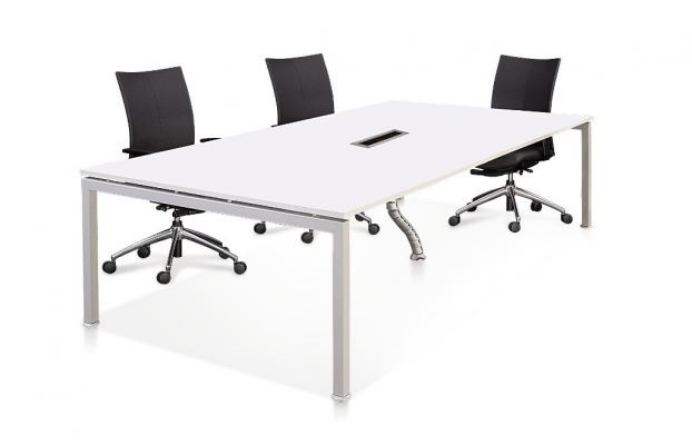 Rectangular conference table with rumex leg and PS socket n PVC snake